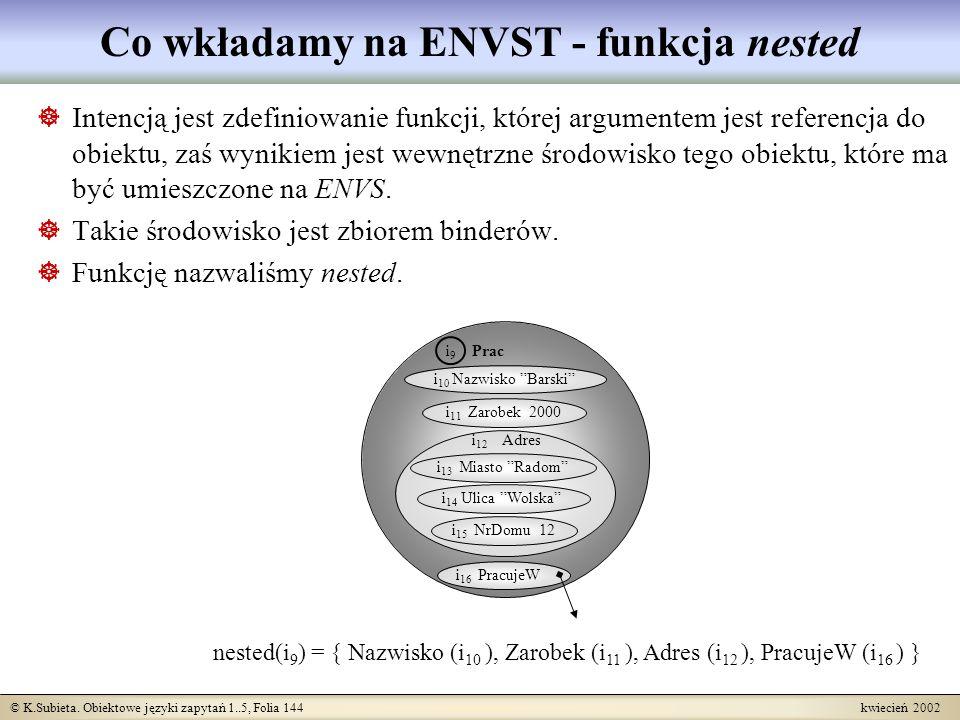 © K.Subieta. Obiektowe języki zapytań 1..5, Folia 144 kwiecień 2002 Co wkładamy na ENVST - funkcja nested Intencją jest zdefiniowanie funkcji, której