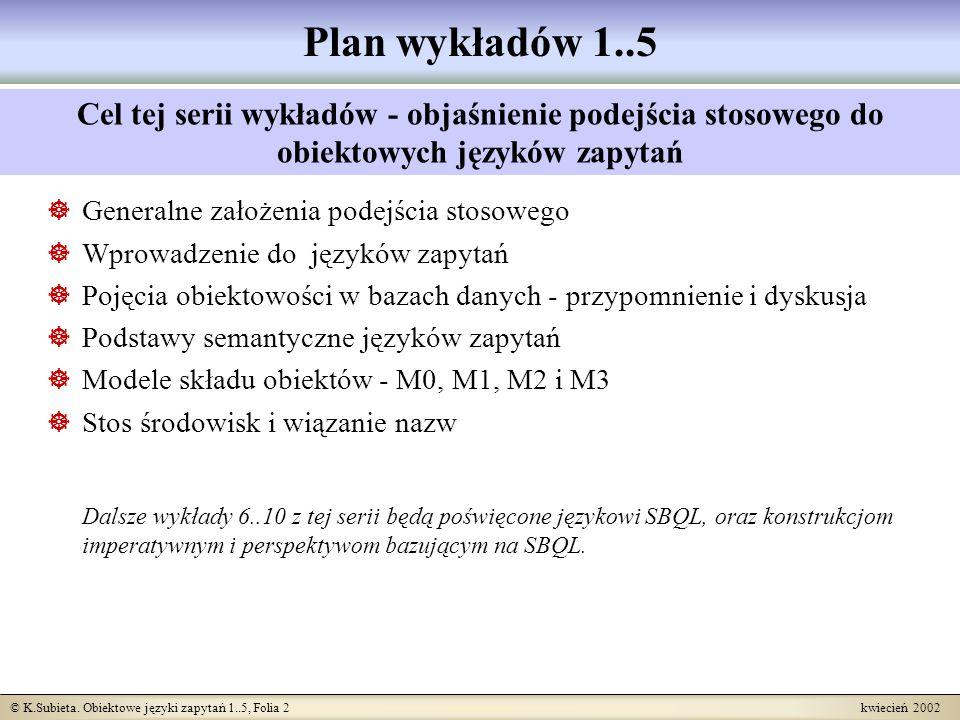 © K.Subieta. Obiektowe języki zapytań 1..5, Folia 2 kwiecień 2002 Plan wykładów 1..5 Generalne założenia podejścia stosowego Wprowadzenie do języków z