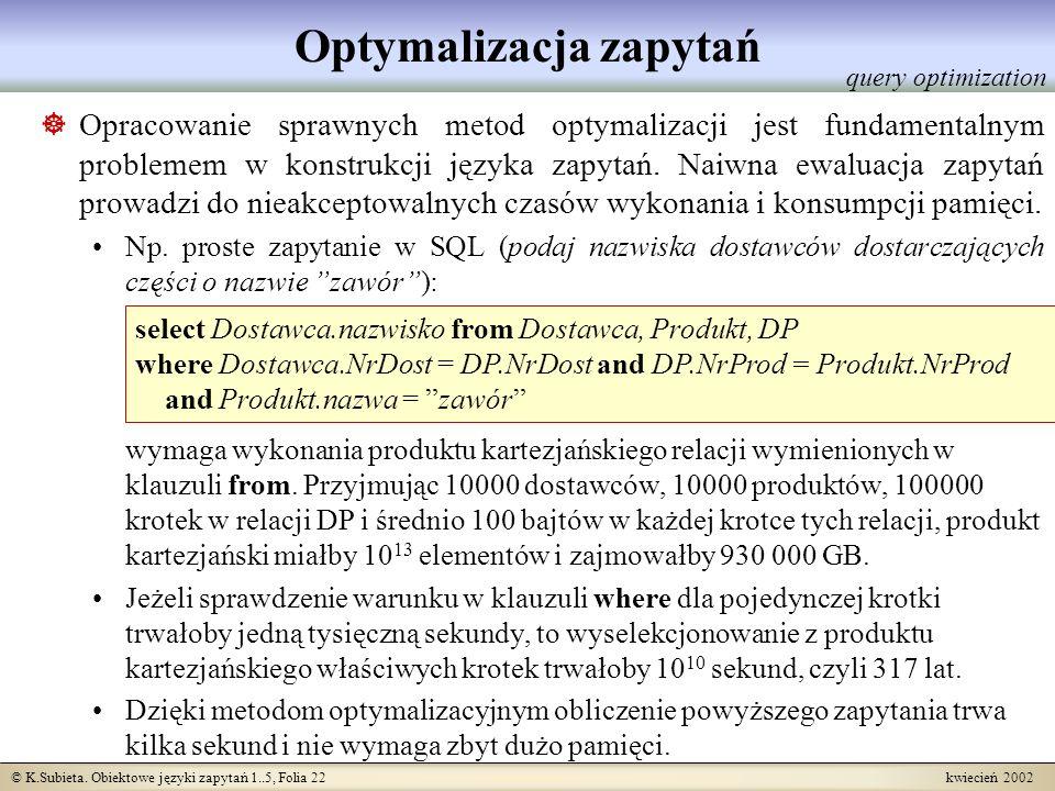 © K.Subieta. Obiektowe języki zapytań 1..5, Folia 22 kwiecień 2002 Optymalizacja zapytań Opracowanie sprawnych metod optymalizacji jest fundamentalnym