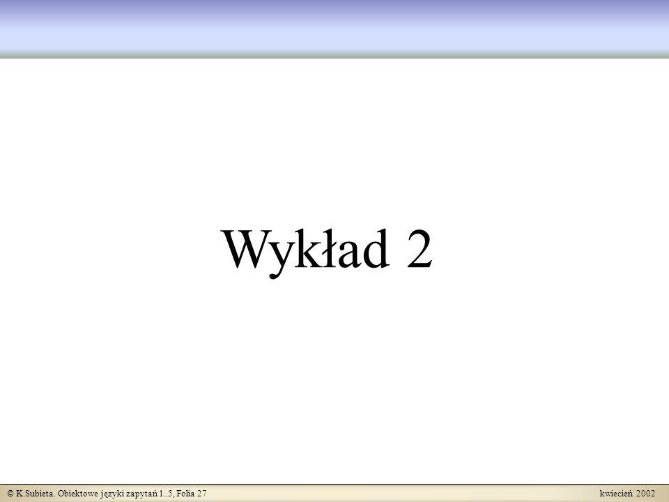 © K.Subieta. Obiektowe języki zapytań 1..5, Folia 27 kwiecień 2002 Wykład 2