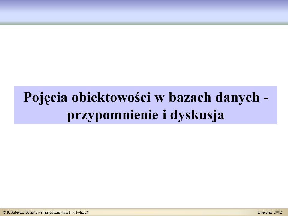 © K.Subieta. Obiektowe języki zapytań 1..5, Folia 28 kwiecień 2002 Pojęcia obiektowości w bazach danych - przypomnienie i dyskusja