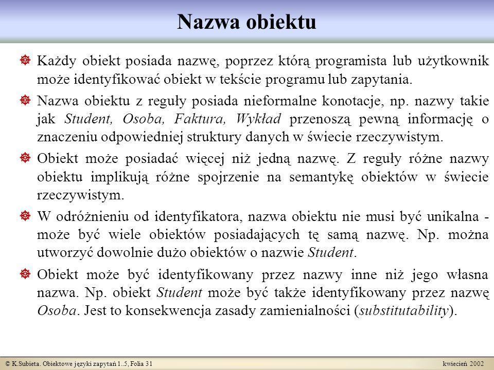 © K.Subieta. Obiektowe języki zapytań 1..5, Folia 31 kwiecień 2002 Nazwa obiektu Każdy obiekt posiada nazwę, poprzez którą programista lub użytkownik