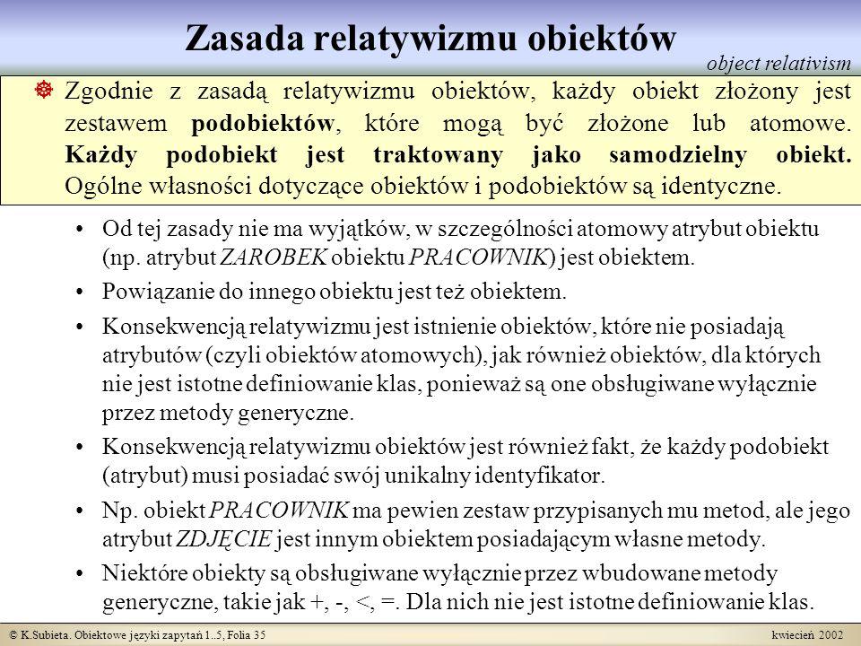 © K.Subieta. Obiektowe języki zapytań 1..5, Folia 35 kwiecień 2002 Zasada relatywizmu obiektów Zgodnie z zasadą relatywizmu obiektów, każdy obiekt zło