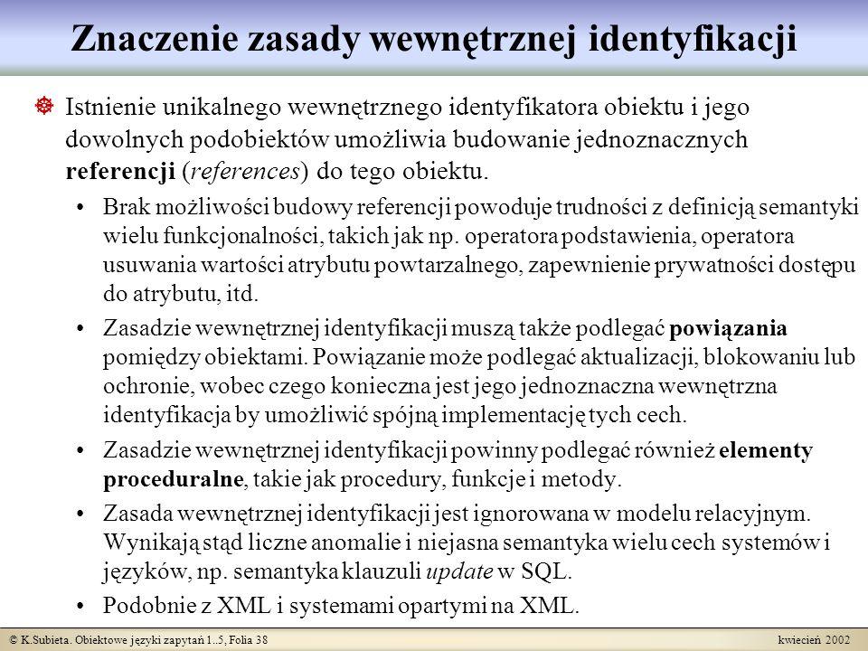 © K.Subieta. Obiektowe języki zapytań 1..5, Folia 38 kwiecień 2002 Znaczenie zasady wewnętrznej identyfikacji Istnienie unikalnego wewnętrznego identy