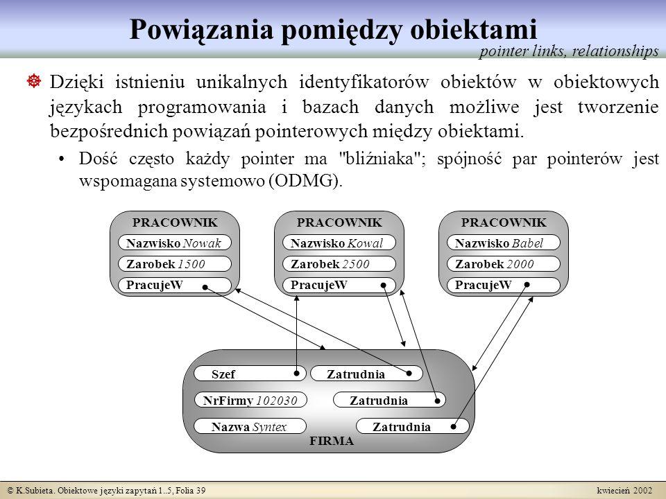 © K.Subieta. Obiektowe języki zapytań 1..5, Folia 39 kwiecień 2002 Powiązania pomiędzy obiektami Dzięki istnieniu unikalnych identyfikatorów obiektów