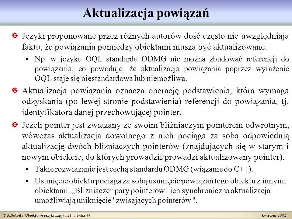 © K.Subieta. Obiektowe języki zapytań 1..5, Folia 44 kwiecień 2002 Aktualizacja powiązań Języki proponowane przez różnych autorów dość często nie uwzg