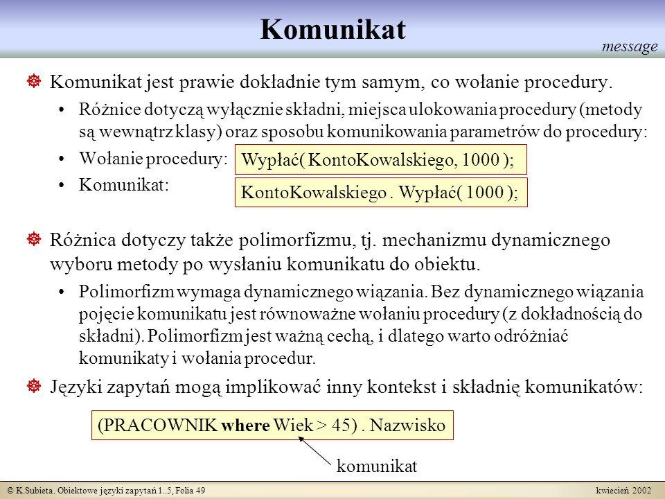 © K.Subieta. Obiektowe języki zapytań 1..5, Folia 49 kwiecień 2002 Komunikat Komunikat jest prawie dokładnie tym samym, co wołanie procedury. Różnice