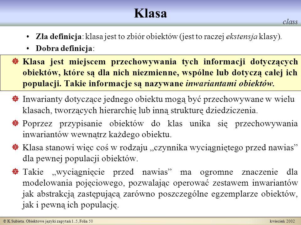 © K.Subieta. Obiektowe języki zapytań 1..5, Folia 50 kwiecień 2002 Klasa Zła definicja: klasa jest to zbiór obiektów (jest to raczej ekstensja klasy).