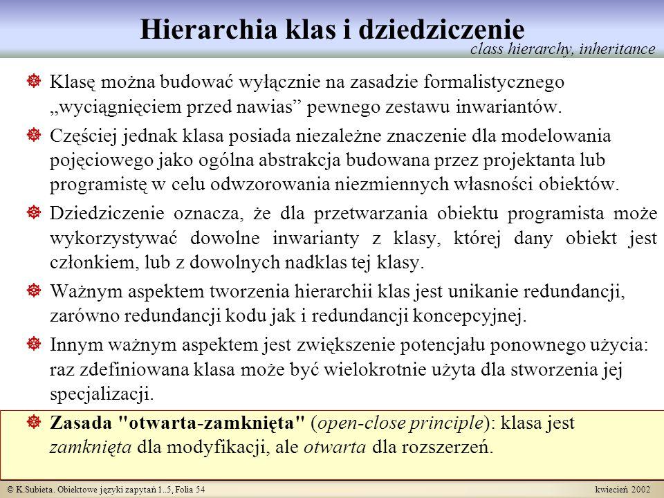 © K.Subieta. Obiektowe języki zapytań 1..5, Folia 54 kwiecień 2002 Hierarchia klas i dziedziczenie Klasę można budować wyłącznie na zasadzie formalist