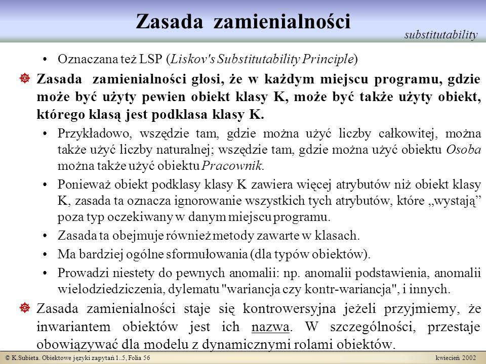 © K.Subieta. Obiektowe języki zapytań 1..5, Folia 56 kwiecień 2002 Zasada zamienialności Oznaczana też LSP (Liskov's Substitutability Principle) Zasad