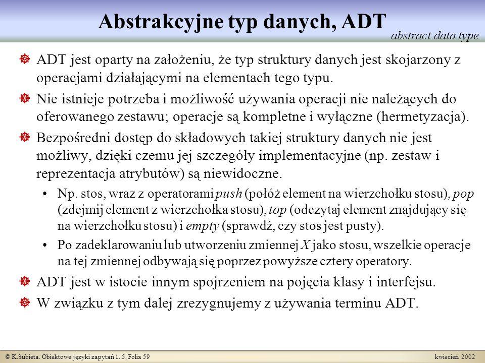 © K.Subieta. Obiektowe języki zapytań 1..5, Folia 59 kwiecień 2002 Abstrakcyjne typ danych, ADT ADT jest oparty na założeniu, że typ struktury danych
