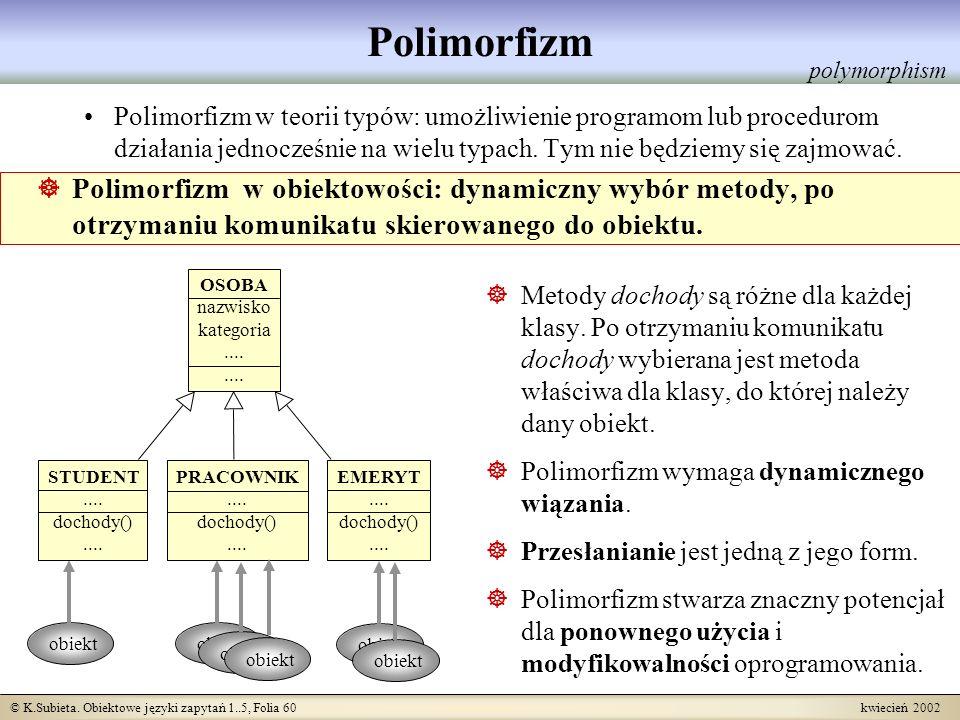 © K.Subieta. Obiektowe języki zapytań 1..5, Folia 60 kwiecień 2002 Polimorfizm Polimorfizm w teorii typów: umożliwienie programom lub procedurom dział