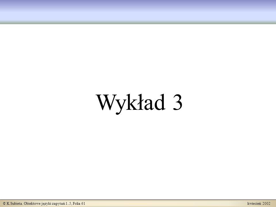 © K.Subieta. Obiektowe języki zapytań 1..5, Folia 61 kwiecień 2002 Wykład 3