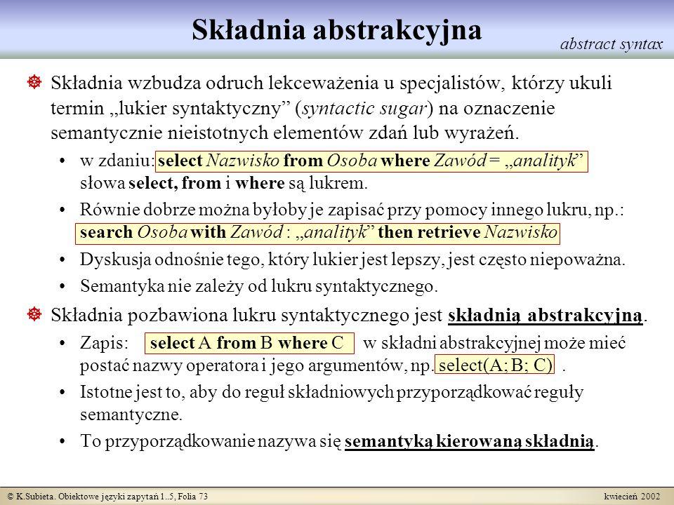 © K.Subieta. Obiektowe języki zapytań 1..5, Folia 73 kwiecień 2002 Składnia wzbudza odruch lekceważenia u specjalistów, którzy ukuli termin lukier syn