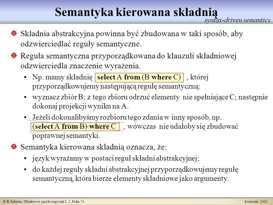 © K.Subieta. Obiektowe języki zapytań 1..5, Folia 74 kwiecień 2002 Semantyka kierowana składnią syntax-driven semantics Składnia abstrakcyjna powinna