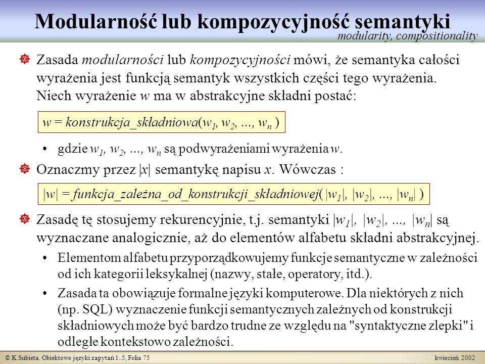 © K.Subieta. Obiektowe języki zapytań 1..5, Folia 75 kwiecień 2002 Modularność lub kompozycyjność semantyki Zasada modularności lub kompozycyjności mó