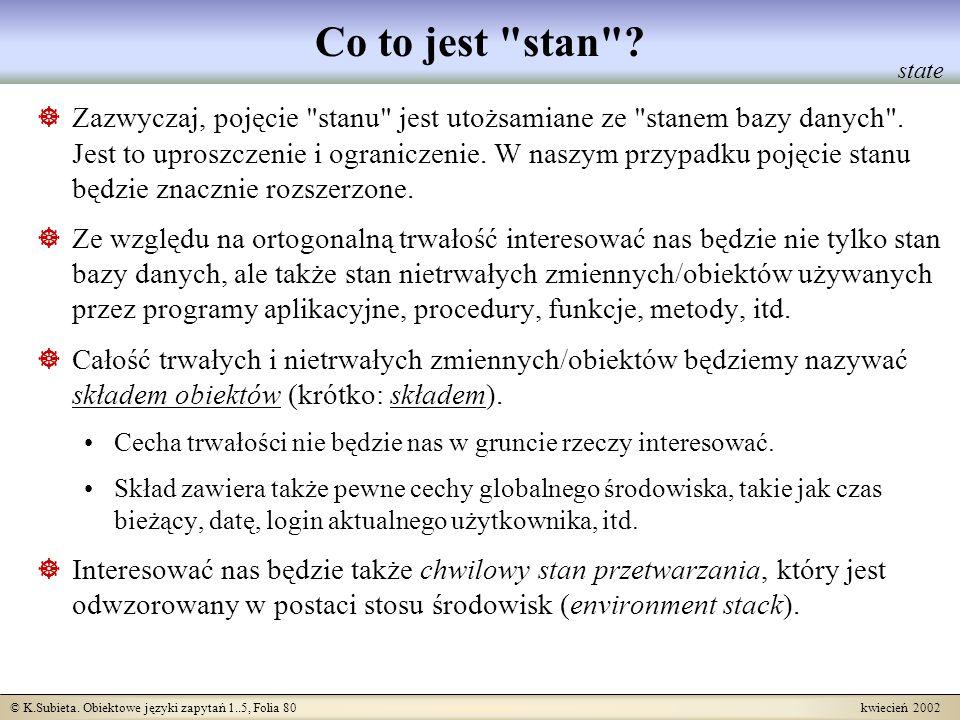 © K.Subieta. Obiektowe języki zapytań 1..5, Folia 80 kwiecień 2002 Co to jest
