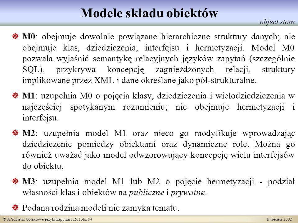 © K.Subieta. Obiektowe języki zapytań 1..5, Folia 84 kwiecień 2002 Modele składu obiektów M0: obejmuje dowolnie powiązane hierarchiczne struktury dany