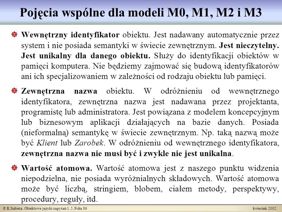 © K.Subieta. Obiektowe języki zapytań 1..5, Folia 86 kwiecień 2002 Pojęcia wspólne dla modeli M0, M1, M2 i M3 Wewnętrzny identyfikator obiektu. Jest n