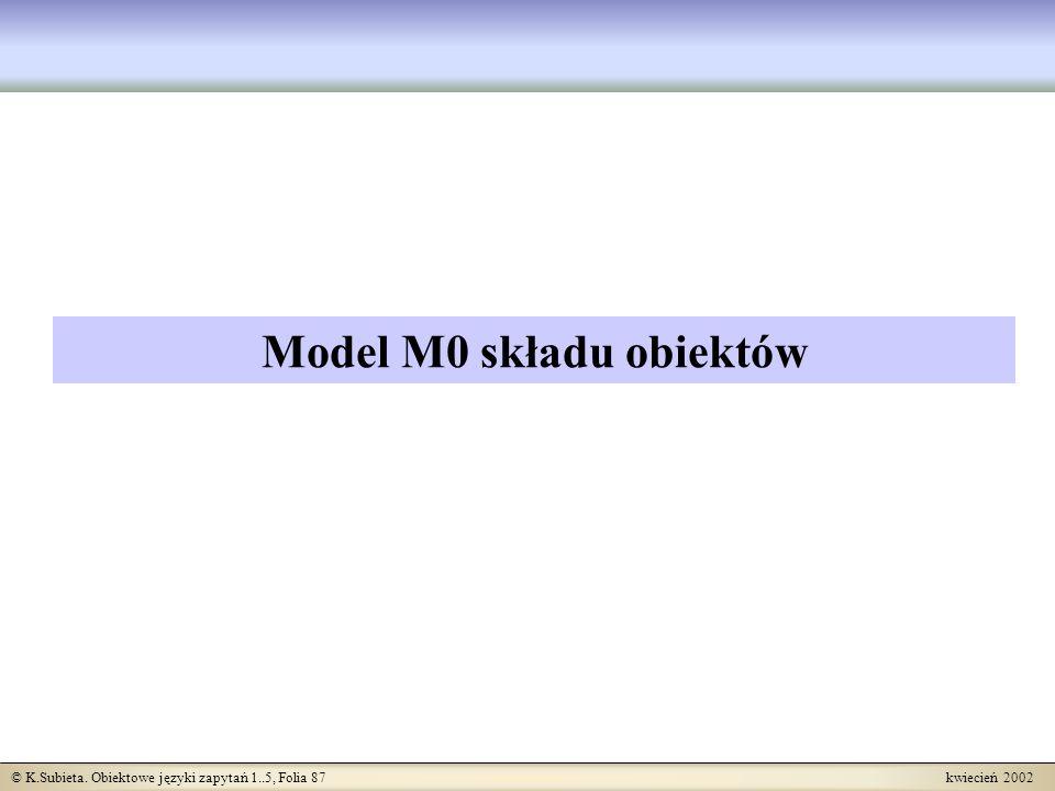 © K.Subieta. Obiektowe języki zapytań 1..5, Folia 87 kwiecień 2002 Model M0 składu obiektów