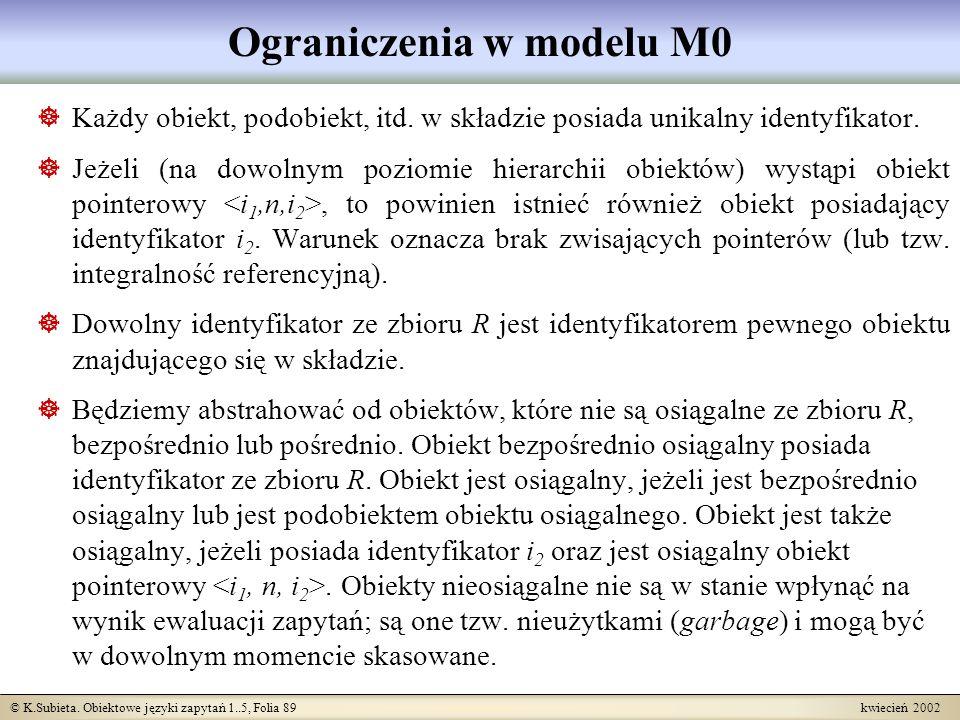 © K.Subieta. Obiektowe języki zapytań 1..5, Folia 89 kwiecień 2002 Ograniczenia w modelu M0 Każdy obiekt, podobiekt, itd. w składzie posiada unikalny