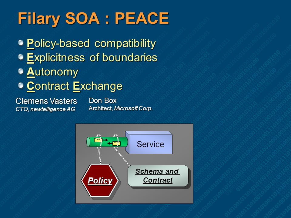 Filary SOA : PEACE Policy-based compatibility Explicitness of boundaries Autonomy Contract Exchange Clemens Vasters CTO, newtelligence AG Don Box Arch