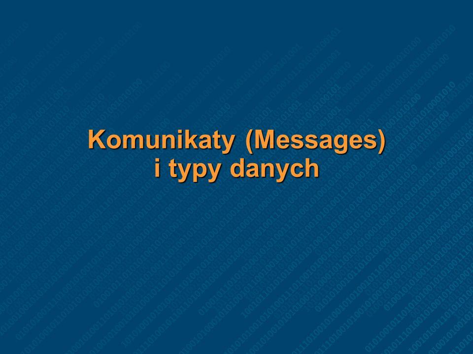 Sposób komunikacji usług Usługi komunikują się poprzez komunikaty Nic więcej.