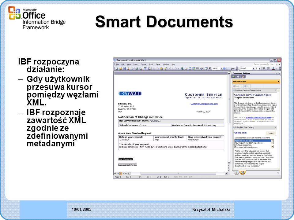 IBF rozpoczyna działanie: –Gdy użytkownik przesuwa kursor pomiędzy węzłami XML.