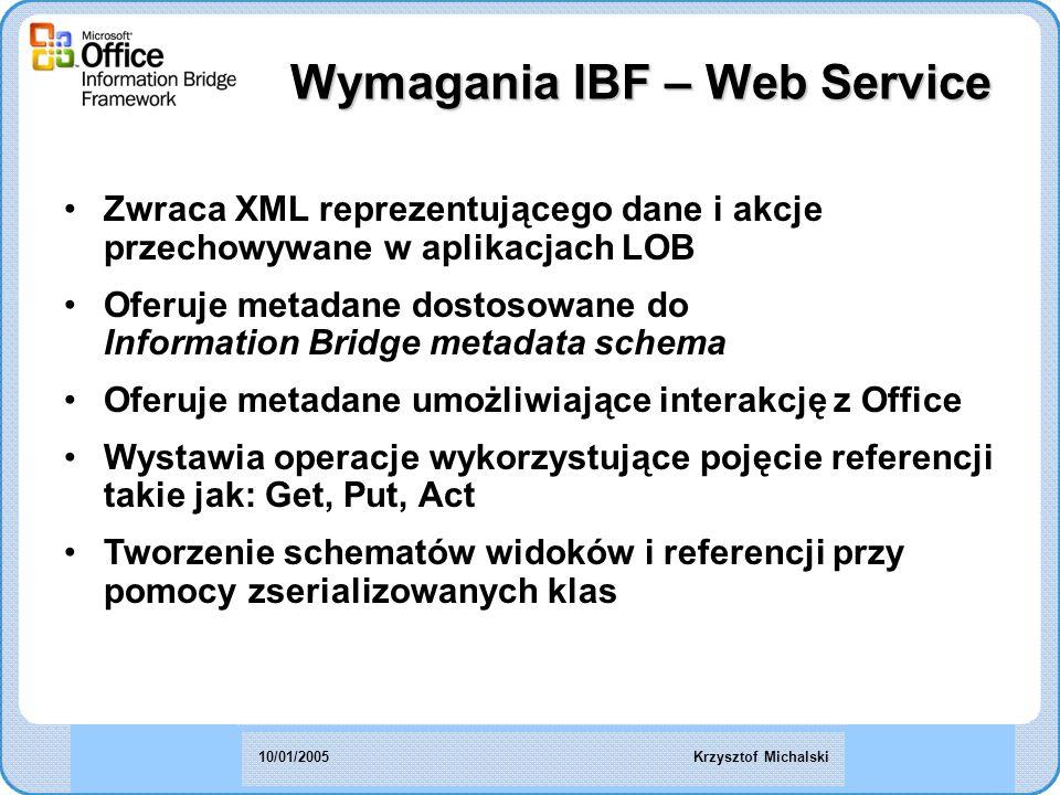Zwraca XML reprezentującego dane i akcje przechowywane w aplikacjach LOB Oferuje metadane dostosowane do Information Bridge metadata schema Oferuje metadane umożliwiające interakcję z Office Wystawia operacje wykorzystujące pojęcie referencji takie jak: Get, Put, Act Tworzenie schematów widoków i referencji przy pomocy zserializowanych klas Wymagania IBF – Web Service Krzysztof Michalski10/01/2005