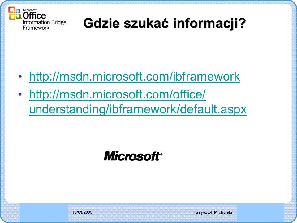 http://msdn.microsoft.com/ibframework http://msdn.microsoft.com/office/ understanding/ibframework/default.aspxhttp://msdn.microsoft.com/office/ understanding/ibframework/default.aspx Gdzie szukać informacji.