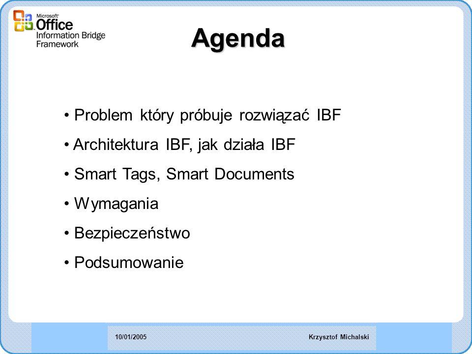 Agenda Problem który próbuje rozwiązać IBF Architektura IBF, jak działa IBF Smart Tags, Smart Documents Wymagania Bezpieczeństwo Podsumowanie Krzysztof Michalski10/01/2005