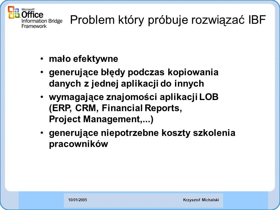 Problem który próbuje rozwiązać IBF mało efektywne generujące błędy podczas kopiowania danych z jednej aplikacji do innych wymagające znajomości aplikacji LOB (ERP, CRM, Financial Reports, Project Management,...) generujące niepotrzebne koszty szkolenia pracowników Krzysztof Michalski10/01/2005