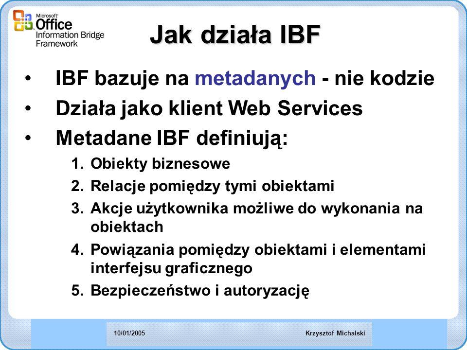 IBF bazuje na metadanych - nie kodzie Działa jako klient Web Services Metadane IBF definiują: 1.Obiekty biznesowe 2.Relacje pomiędzy tymi obiektami 3.Akcje użytkownika możliwe do wykonania na obiektach 4.Powiązania pomiędzy obiektami i elementami interfejsu graficznego 5.Bezpieczeństwo i autoryzację Jak działa IBF Krzysztof Michalski10/01/2005