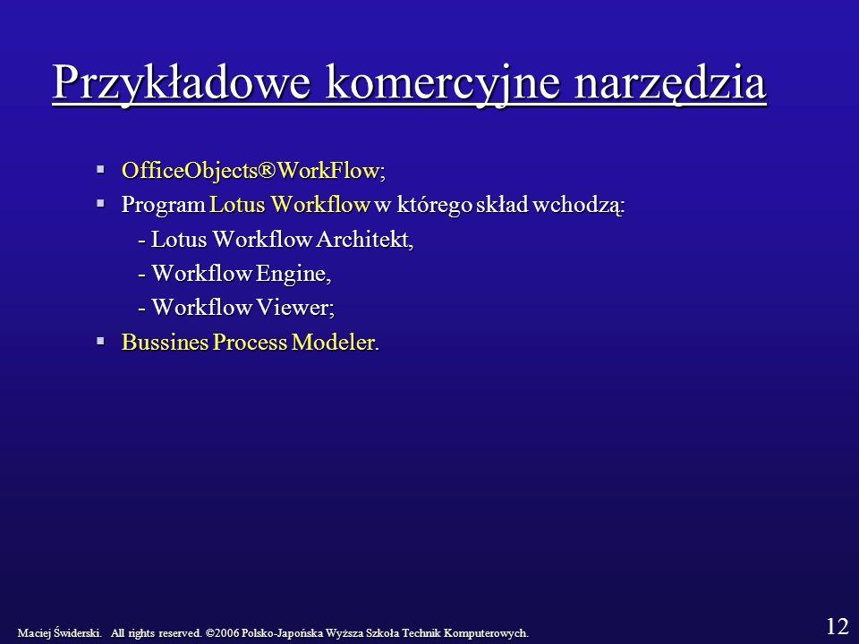 Przykładowe komercyjne narzędzia OfficeObjects®WorkFlow; OfficeObjects®WorkFlow; Program Lotus Workflow w którego skład wchodzą: Program Lotus Workflow w którego skład wchodzą: - Lotus Workflow Architekt, - Workflow Engine, - Workflow Viewer; Bussines Process Modeler.