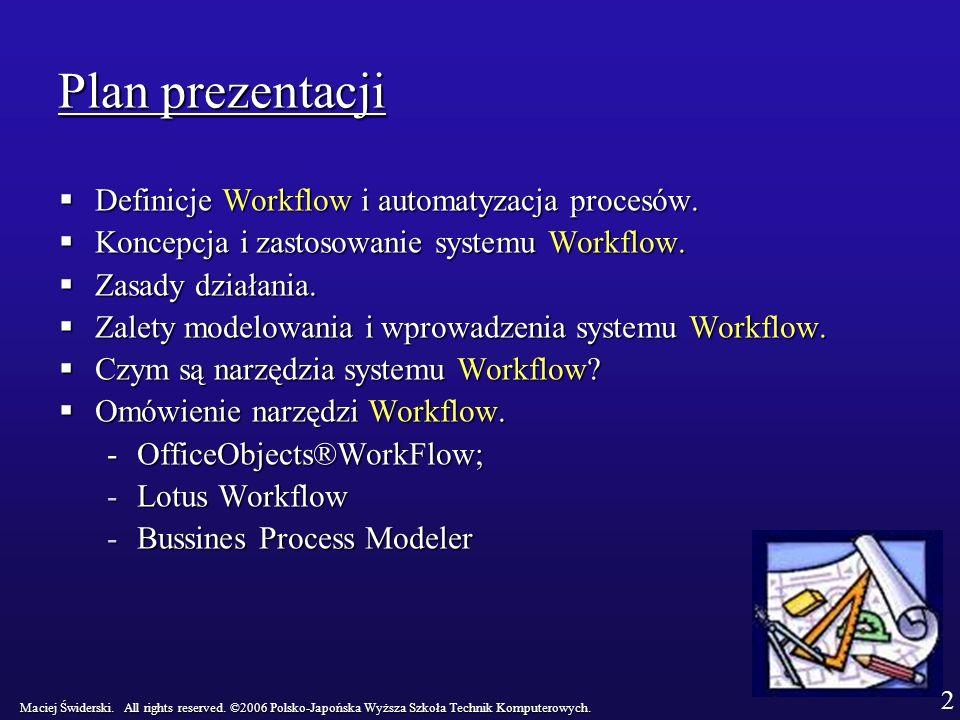 Plan prezentacji Definicje Workflow i automatyzacja procesów.