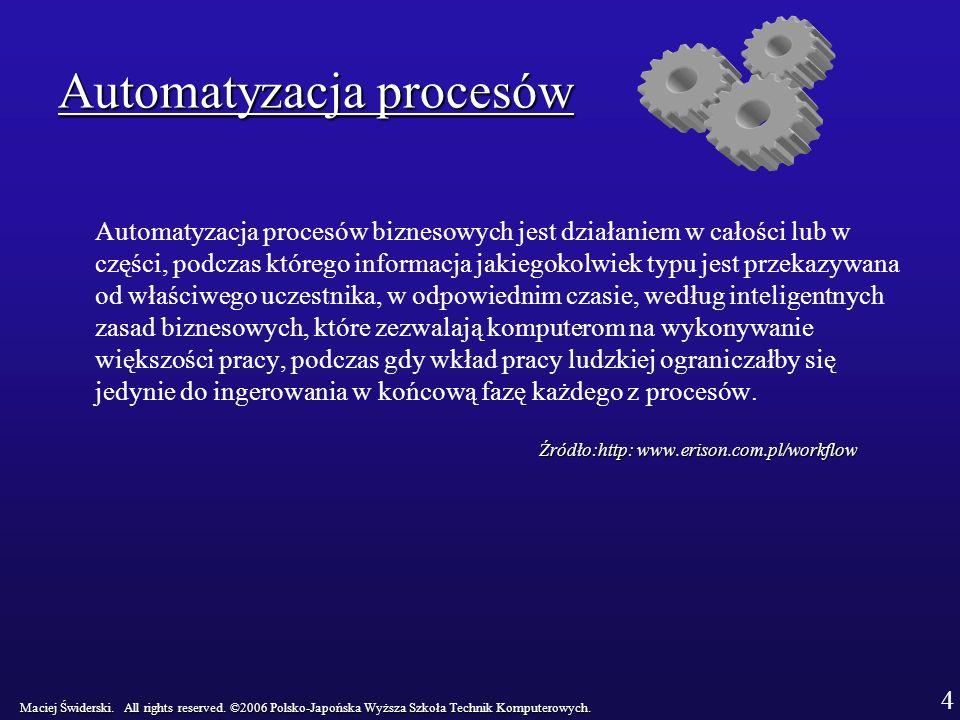 Automatyzacja procesów Automatyzacja procesów biznesowych jest działaniem w całości lub w części, podczas którego informacja jakiegokolwiek typu jest przekazywana od właściwego uczestnika, w odpowiednim czasie, według inteligentnych zasad biznesowych, które zezwalają komputerom na wykonywanie większości pracy, podczas gdy wkład pracy ludzkiej ograniczałby się jedynie do ingerowania w końcową fazę każdego z procesów.