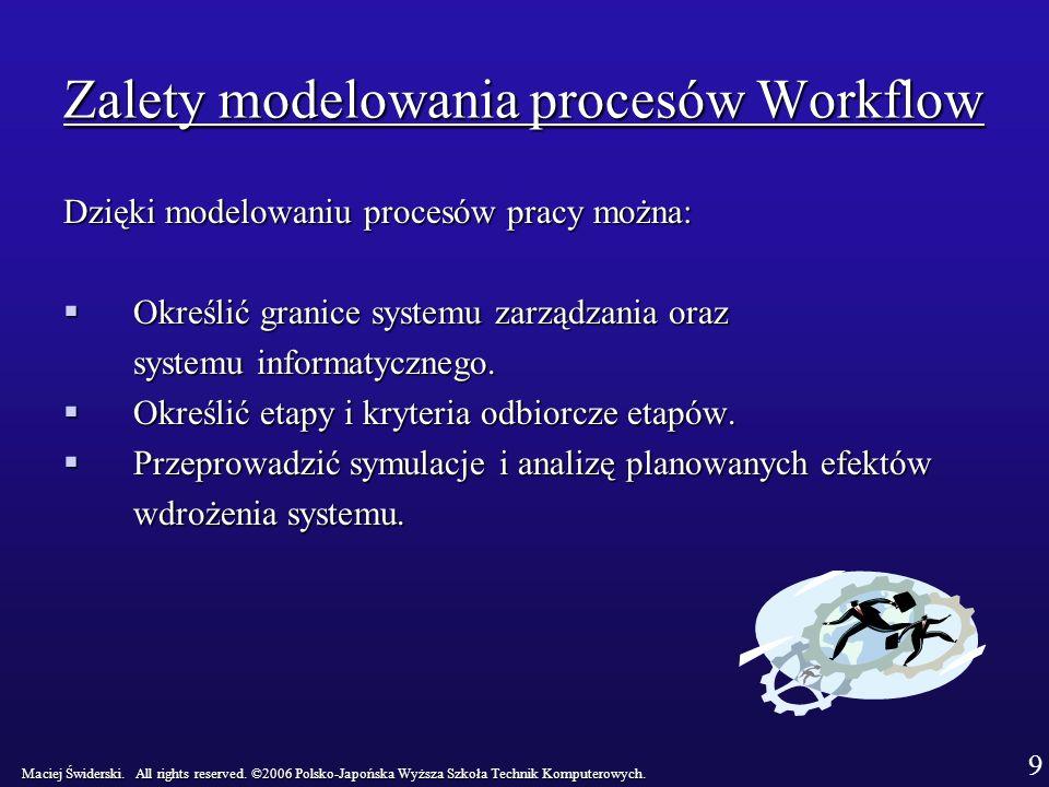 Zalety modelowania procesów Workflow Dzięki modelowaniu procesów pracy można: Określić granice systemu zarządzania oraz Określić granice systemu zarządzania oraz systemu informatycznego.