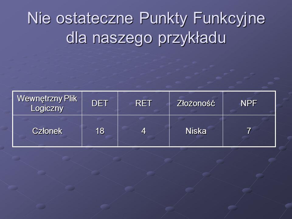 Nie ostateczne Punkty Funkcyjne dla naszego przykładu Wewnętrzny Plik Logiczny DETRETZłożonośćNPF Członek184Niska7