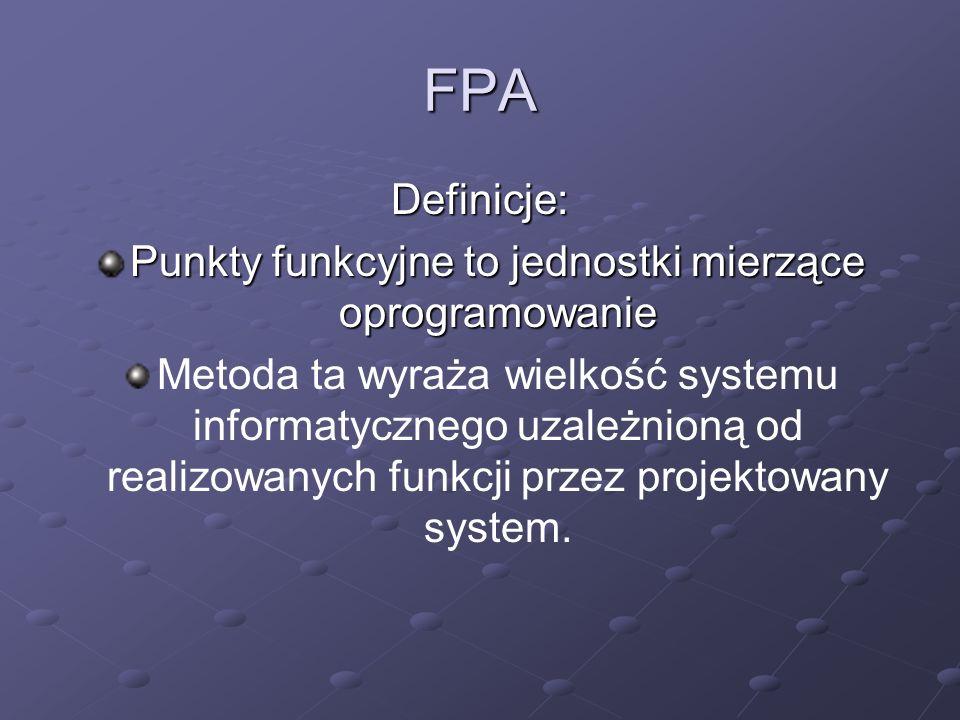 FPA Definicje: Punkty funkcyjne to jednostki mierzące oprogramowanie Metoda ta wyraża wielkość systemu informatycznego uzależnioną od realizowanych fu