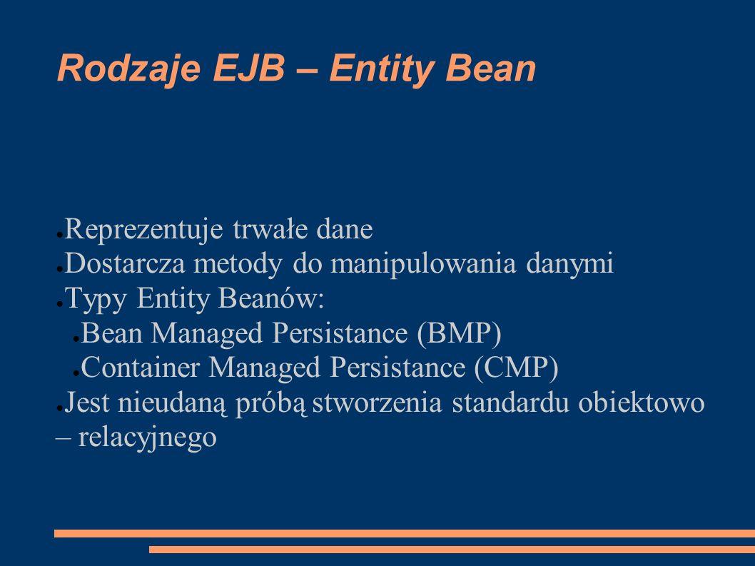 Rodzaje EJB – Entity Bean Reprezentuje trwałe dane Dostarcza metody do manipulowania danymi Typy Entity Beanów: Bean Managed Persistance (BMP) Contain