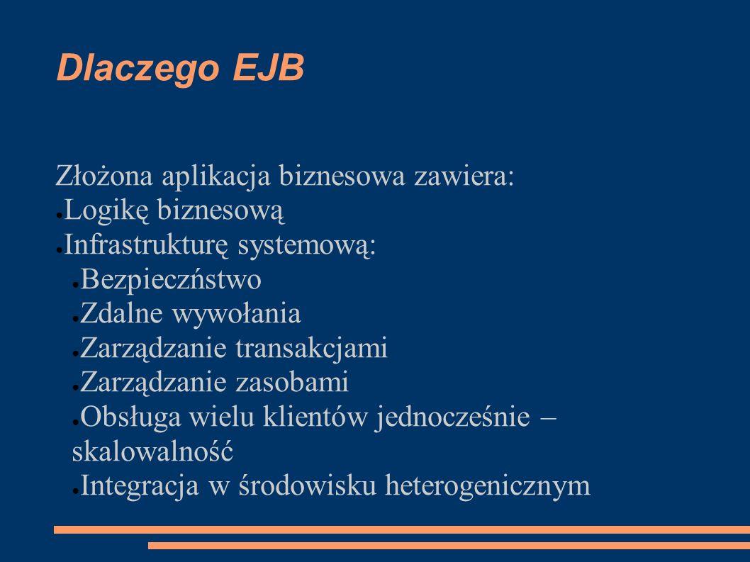 Dlaczego EJB Złożona aplikacja biznesowa zawiera: Logikę biznesową Infrastrukturę systemową: Bezpieczństwo Zdalne wywołania Zarządzanie transakcjami Z