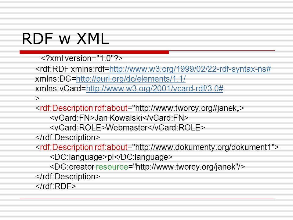RDF w XML Jan Kowalski Webmaster pl http://www.w3.org/1999/02/22-rdf-syntax-ns#http://purl.org/dc/elements/1.1/http://www.w3.org/2001/vcard-rdf/3.0#