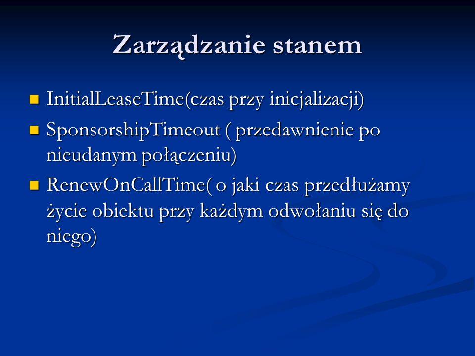 Zarządzanie stanem InitialLeaseTime(czas przy inicjalizacji) InitialLeaseTime(czas przy inicjalizacji) SponsorshipTimeout ( przedawnienie po nieudanym