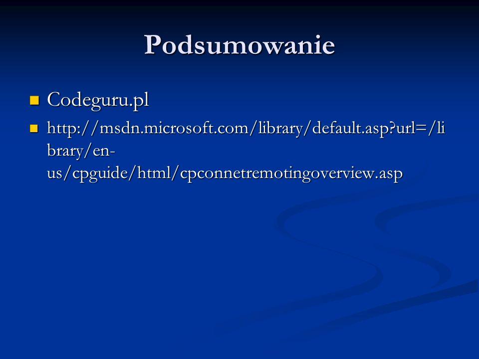 Podsumowanie Codeguru.pl Codeguru.pl http://msdn.microsoft.com/library/default.asp?url=/li brary/en- us/cpguide/html/cpconnetremotingoverview.asp http
