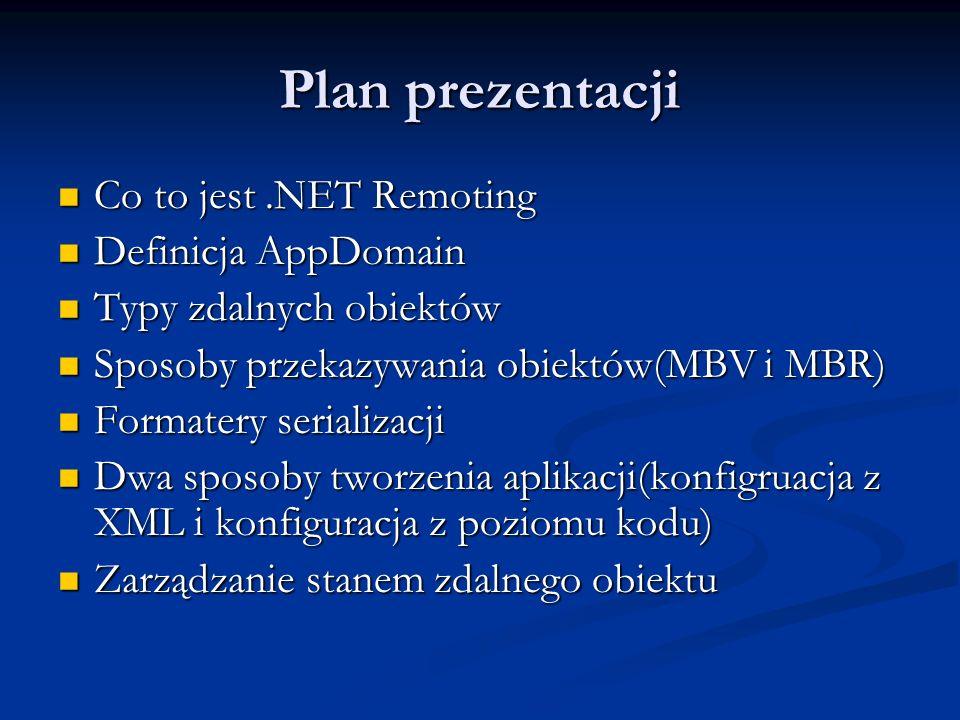 Plan prezentacji Co to jest.NET Remoting Co to jest.NET Remoting Definicja AppDomain Definicja AppDomain Typy zdalnych obiektów Typy zdalnych obiektów