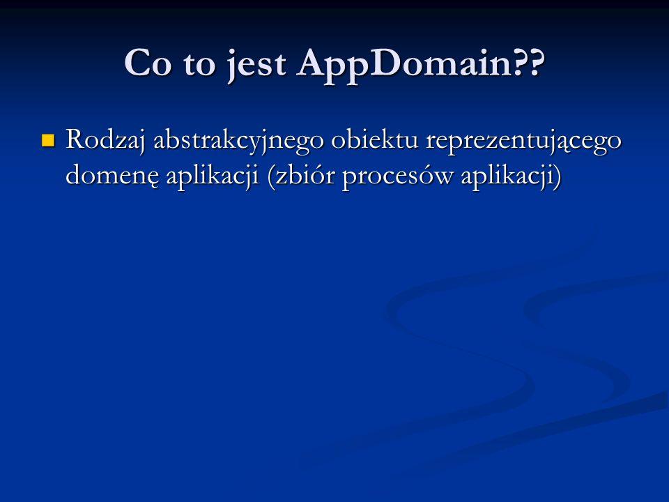 Co to jest AppDomain?? Rodzaj abstrakcyjnego obiektu reprezentującego domenę aplikacji (zbiór procesów aplikacji) Rodzaj abstrakcyjnego obiektu reprez