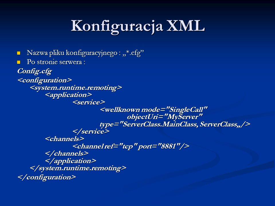 Konfiguracja XML Kod aplikacji serwera: Kod aplikacji serwera: public static void Main() { try { RemotingConfiguration.Configure( C:\\config.cfg ); Console.ReadLine(); } catch(System.Runtime.Remoting.RemotingException e) { Console.WriteLine(e.StackTrace); Console.WriteLine( WYJATEK!!! ); Console.ReadLine(); } }