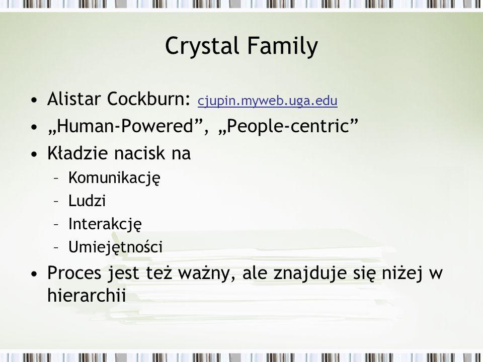 Crystal Family Alistar Cockburn: cjupin.myweb.uga.edu Human-Powered, People-centric Kładzie nacisk na –Komunikację –Ludzi –Interakcję –Umiejętności Pr