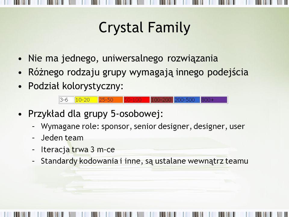 Crystal Family Nie ma jednego, uniwersalnego rozwiązania Różnego rodzaju grupy wymagają innego podejścia Podział kolorystyczny: Przykład dla grupy 5-o