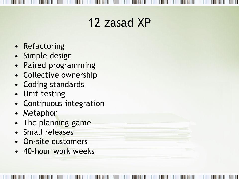 Cechy XP Nie dla każdego zespołu ( <20 osób, odpowiednie podejście i kultura ) Silne ograniczenie dokumentacji Założenie, że klient pracuje razem z zespołem może być problematyczne
